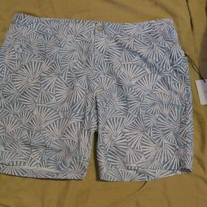 Onia Calder Trunks White Abstract Fan 38x7.5 NWT